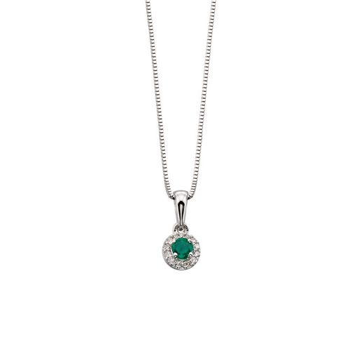 White Gold Diamond and Emerald Pendant | Amulet Fine Jewellery